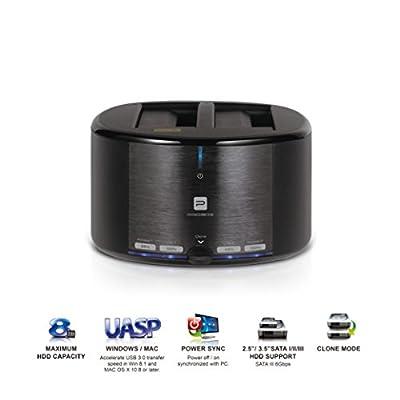 "Mediasonic USB 3.0 2 Bay 2.5"" / 3.5"" SATA SSD / Hard Drive Docking Station w/ Clone Function Support SATA 3 / UASP (HUD1-SU3) from Major League Global Enterprise LLC"