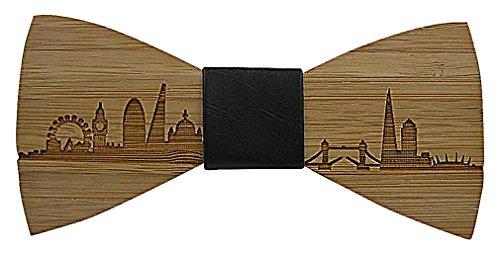Celino Men Trendy Bamboo Fiber City Horizon Imprint PU Leather Wooden Bow Tie, London One Size