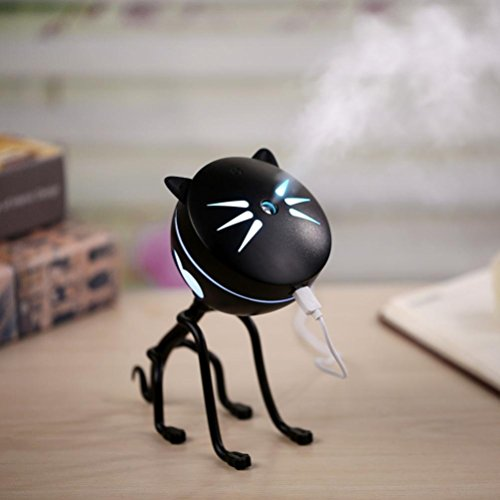 Price comparison product image Willcome 150ml USB Cat Air Mist Humidifier with Mute, Auto Shut-off and Night Light Function for Home Bedroom Babyroom Office (Black)