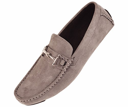 Amali Mens Plush Microfiber Faux Suede Slip On Loafer Driving Shoe with Buckle Style Walken Silver ()
