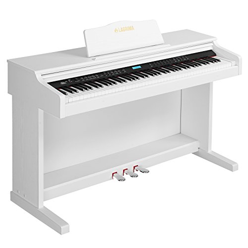 LAGRIMA Digital Piano, 88 Key Electric Keyboard Piano for Beginner/Adults W/Music Stand+Power Adapter+3-Pedal Board+Instruction Book+Headphone Jack(White)