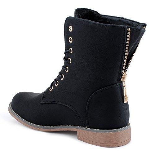 Damen Schnür Stiefeletten Biker Boots Stiefel Warm Gefütterte Schuhe Schwarz/gefüttert EU 38