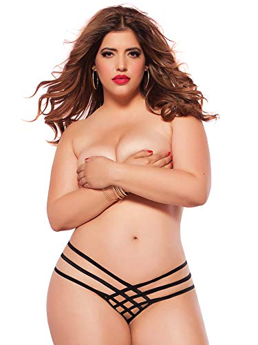 (Seven Til Midnight Women's Plus-Size Queen Size Strap Me In Thong, Black, One Size)