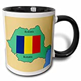 3dRose 777images Flags and Maps - The map and flag of Romania with Romania printed in both English and Romanian. - 11oz Two-Tone Black Mug (mug_39222_4)