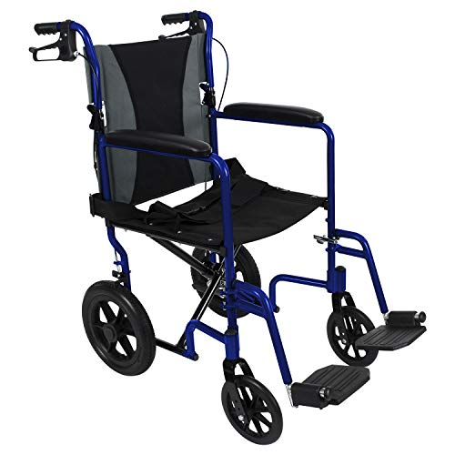 Vive Bariatric Transport Wheelchair - Folding Aluminum Chair with Hand Brake - Lightweight, Foldable, Adjustable Travel Manual Mobility Aid - Ultralight Comfortable 19 Inch Wide Handicap Transfer Seat