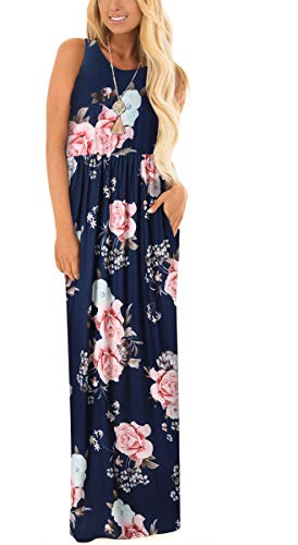 (ZZER Women's Sleeveless Floral Racerback Loose Swing Casual Tunic Beach Long Maxi Dresses with Pockets (C3012NavyFlow, XXL))