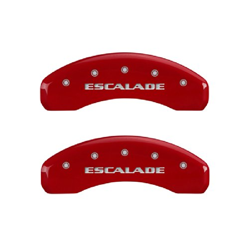 MGP Caliper Covers 35015SESCRD 'ESCALADE' Engraved Caliper Cover with Red Powder Coat Finish and Silver Characters, (Set of 4)