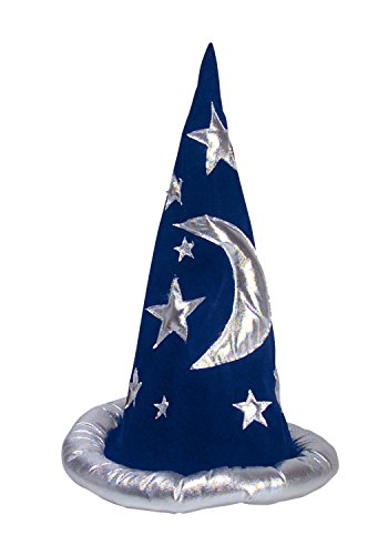 Adult or Child Wizard Costume Hat - Costume Accessory - Funny Party Accessory (Blue and Silver) (Child Wizard)