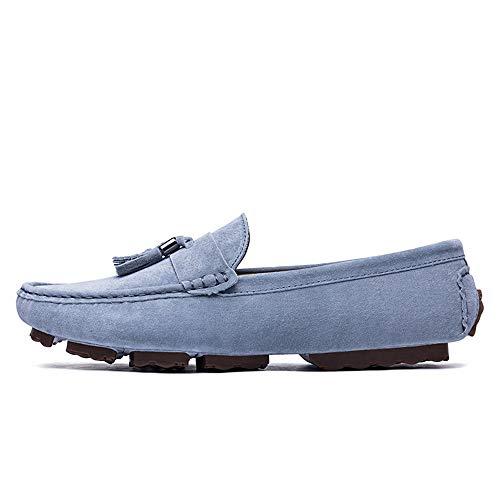 Goma Zapatos Hombres Amplios Ofgcfbvxd Para De Británica Con Ligero 42 Tamaño En Borla Azul Gris color Casuales Más Eu Mocasines Suela Deslizamiento E770q
