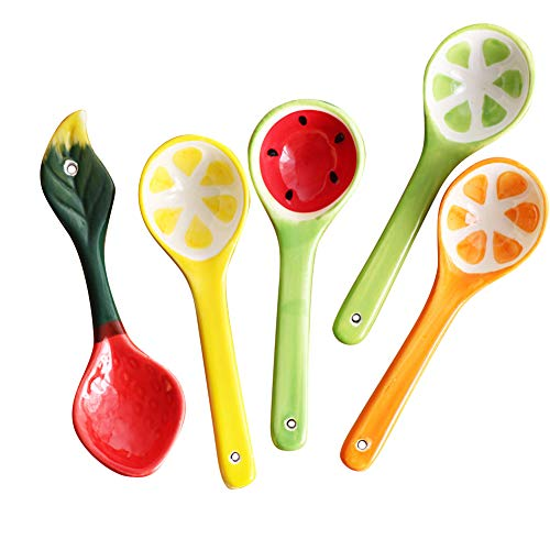 Ozzptuu 5Pcs Hand-painted Ceramic Fruit Spoons Flower Porcelain Handle Chinese Traditional Crafts, Used for Ice Cream Scoop, Dessert Spoon and Children Spoon (Handle Traditional Porcelain)