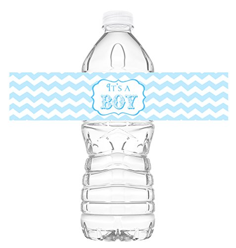 It's a Boy Bottle Wraps - 20 Baby Shower Water Bottle Labels - Baby Shower Decorations - Made in the USA