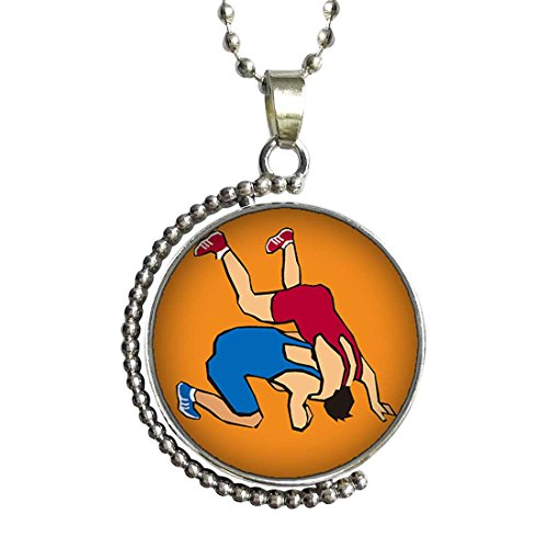 Olympics Wrestling posture Glass Cabochon Rotatable Lucky Pendant Necklace by GiftJewelryShop