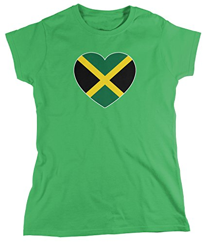 Amdesco Women's Jamaica Heart Flag, Heart Jamaican Flag T-Shirt, Kelly Green Large Jamaican Flag Heart