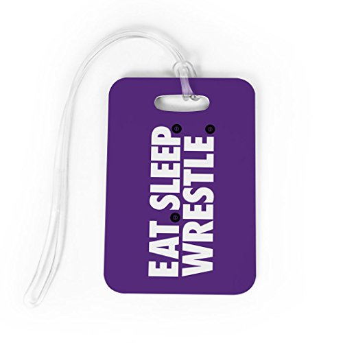 Wrestling Luggage & Bag Tag | Eat Sleep Wrestle | Custom Info on Back | MEDIUM | PURPLE by ChalkTalkSPORTS