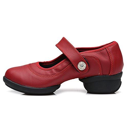 YKXLM Mujeres Danza-zapatillas de deporte Zapatos de baile Calzado de Danza/Modernos de la danza del jazz,Modelo ESA-B65 Rojo