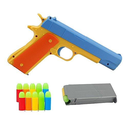 Pinovk 1Pcs Toy Gun Realistic 1:1 Scale Colt 1911 Rubber Bullet Pistol]()