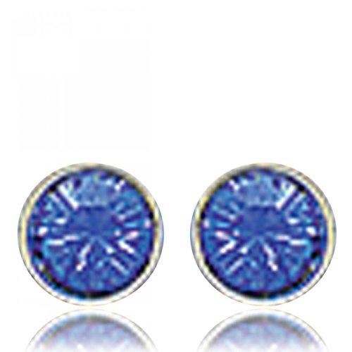 Boucles d'oreilles Ronde Argent Bleu