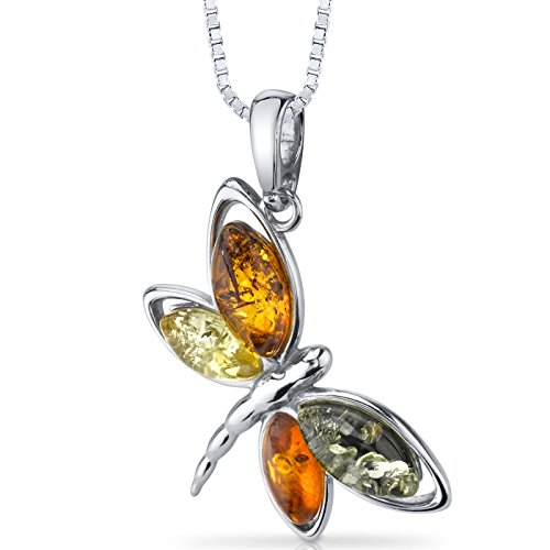 Baltic Amber Butterfly Pendant Necklace Sterling Silver Multiple Colors - Silver Multiple Gemstone Pendant