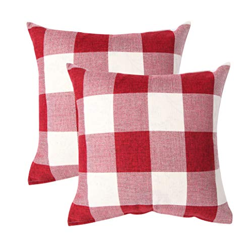 (famibay Pack of 2, Pillow Covers Tartan Checkers Plaid Cotton Linen Throw Pillow Case Decorative Cushion Cover for Home Sofa Bed 18 x 18 Inch, Set of 2, Red and White)