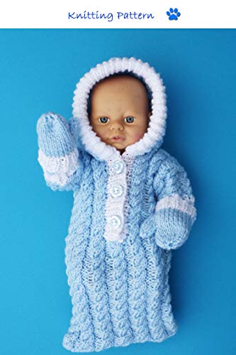 Sleeping Bag with Hood and Mittens Knitting Pattern to fit 10-12 inch/25-31 cms Doll (no. - Mitten Hood