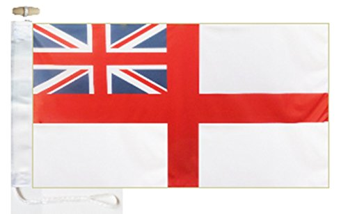 Royal Navy White Ensign Boat Flag - 1 Yard  - Rope and Toggl