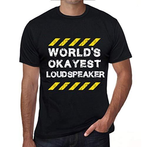 Men's Vintage Tee Shirt Graphic T Shirt Worlds Okayest Loudspeaker Deep Black White Text (Best Loudspeakers In The World)
