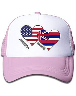 America Hawaii Flag Heart On Children's Trucker Hat, Youth Toddler Mesh Hats Baseball Cap