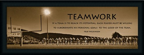 Teamwork by Lori Deiter Motivational Football Quote 39x15 Framed Art Print Picture Wall - Picture Frames Wilkinsons
