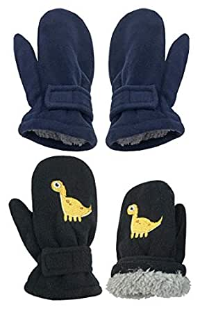 N'Ice Caps Little Kids and Baby Easy-On Sherpa Lined Fleece Mittens - 2 Pair Pack (Black Dinos/Navy Solid, 2-3 Years)