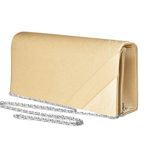 fashion-formel Bolsos estilo cartera, Evening Bag, Clutch Bab, Satén Mod. 2078 by Gold