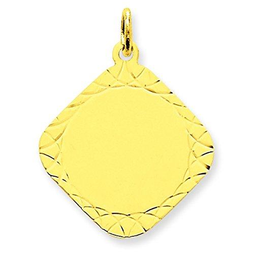 14 carats Calibre .018 motif losange-JewelryWeb disque charme