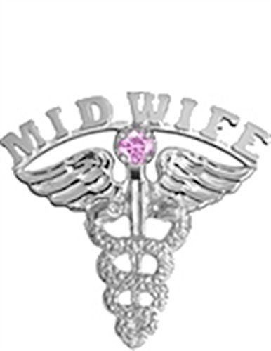 (Midwife Lapel Pin with Pink Sapphire in Sterling Silver)