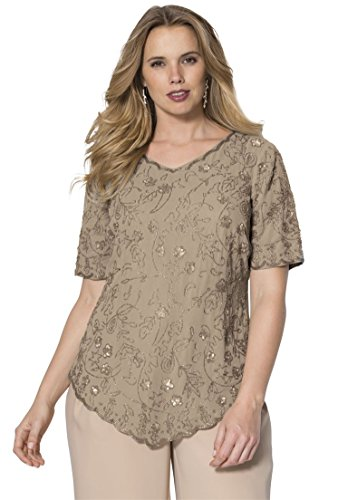 Roamans Women's Plus Size Sequin Beaded Top Silver Shimmer,22 (Beaded V-neck Top)