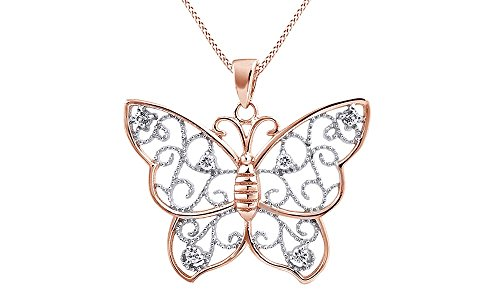 AFFY Filigree Butterfly Cubic Zirconia Pendant Necklace in 14K Rose Gold Over Sterling Silver