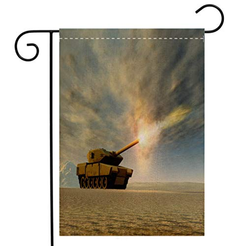 BEIVIVI Custom Double Sided Seasonal Garden Flag Battle Tank Firing Garden Flag Waterproof for Party Holiday Home Garden Decor