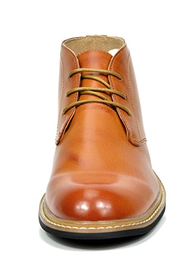 Bruno Marc BERGEN-02 Men's Formal Modern Lace Up Leather Lined Short Ankle Oxford Dress Boots Brown Size 14