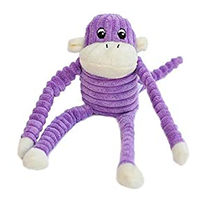 ZippyPaws – Spencer The Crinkle Monkey Dog Toy, Squeaker and Crinkle Plush Toy – Purple, Small