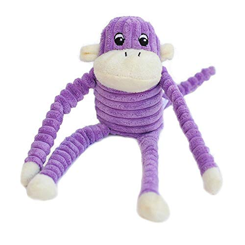 - ZippyPaws - Spencer The Crinkle Monkey Dog Toy, Squeaker and Crinkle Plush Toy - Purple, Small