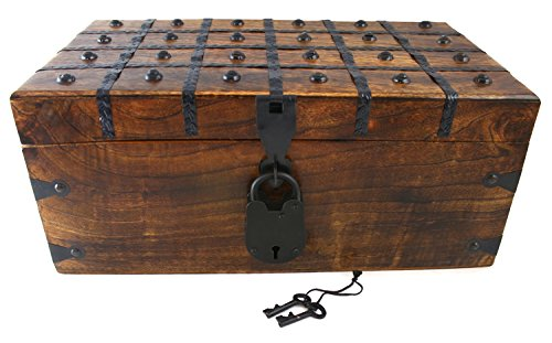 Wood Keepsake Box - Wooden Pirate Treasure Chest Box 17