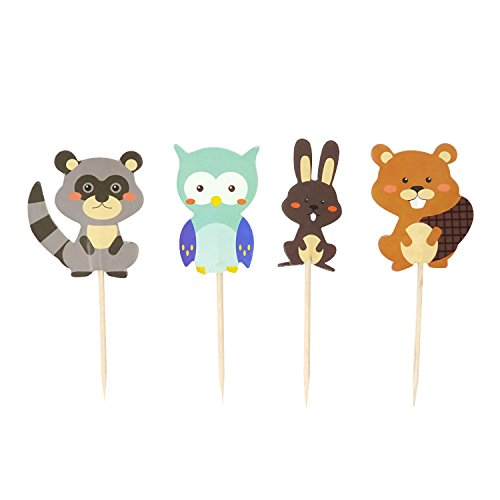 Honbay 48PCS Double Sided Cute Woodland Creatures Theme Dessert Muffin Cake Cupcake Toppers Picks Forest Animal Friends Cake Decoration - Rabbit, Squirrel, Racoon and Owl -