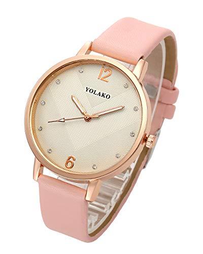 Gold Case Quartz Movement - Top Plaza Womens Ladies Fashion Simple Leather Analog Quartz Wrist Watch Rose Gold Case Big Face Arabic Numerals Dress Watches - Pink