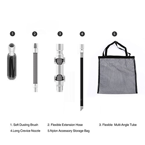 - Tineco A10 & A11 Accessories KIT: Soft Dusting Brush, Flexible Multi-Angle Tube, Flexible Extension Hose, Long Crevice Nozzle, Nylon Accessory Storage Bag