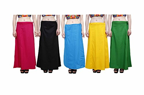 eFashion Women's Cotton Combo Of 5 Underskirts (Multicolor_Free Size)