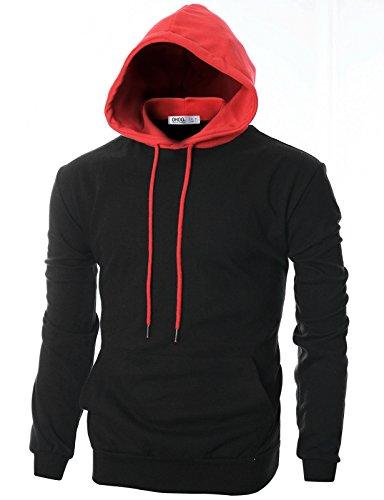 (OHOO Mens Slim Fit Long Sleeve Lightweight Hoodie Combination with Kanga Pocket/DCF020-BLACK/RED-S)