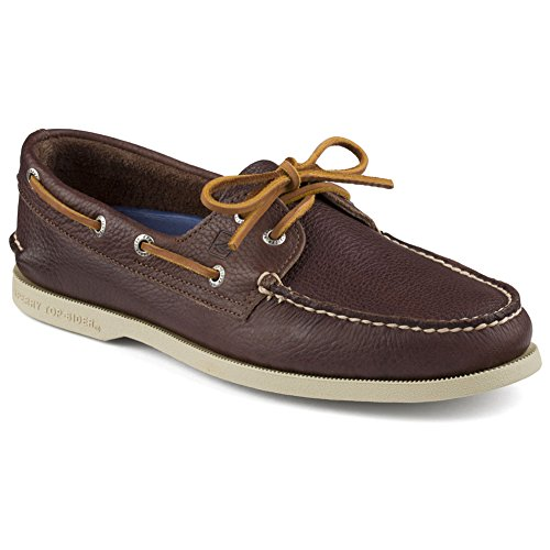 Sperry Top-Sider Men's A/O 2-Eye Tumbled Boat Shoe, Brown, 9.5 M US