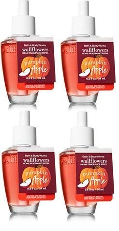 Bath and Body Works 4 Pack Pumpkin Apple Wallflowers Fragrance Refill. 0.8 -