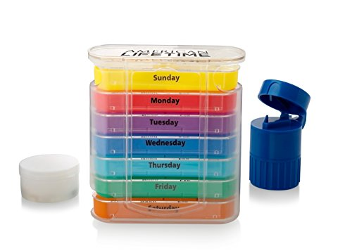 Pill Organizer Box And Extra Case - Large Weekly Medicine Pillbox Daily AM/PM Day/Night Compartments 7 Day Vitamin/Supplement Containers Bonus Splitter And Crusher
