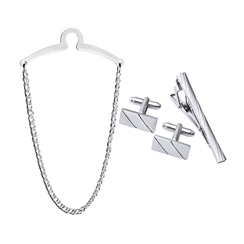 Zysta Gentleman Stainless Steel Tie Chain + Tie Clip + Cufflinks Silver Gold Tuxedo Shirts Formal Dress Set with Gift...