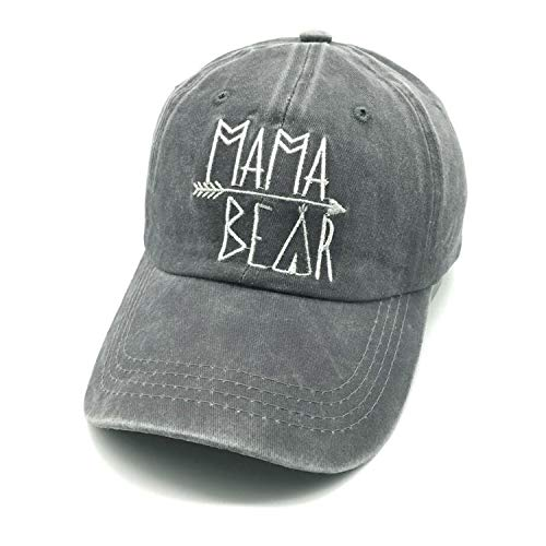 LOKIDVE Mama Bear Baseball Hat Embroidered Women's Washed Denim Mom Cap
