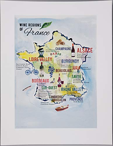 France Region Map Wine - Nancy Nikko French Wine Map, Wine Regions of France, 8 1/2 x 11